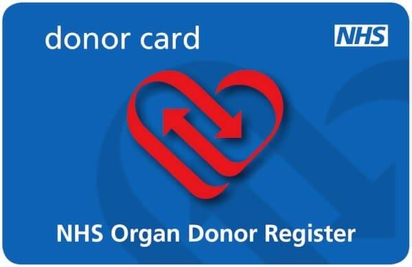 Carte de donneurs d'organe au Royaume-Uni