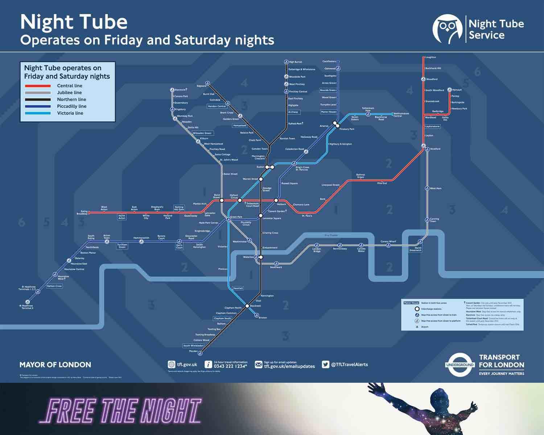 Londres ouvre son métro toute la nuit et dévoile sa carte