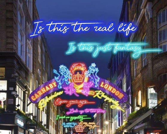 Illuminations sur le thème de Queen à Carnaby Street